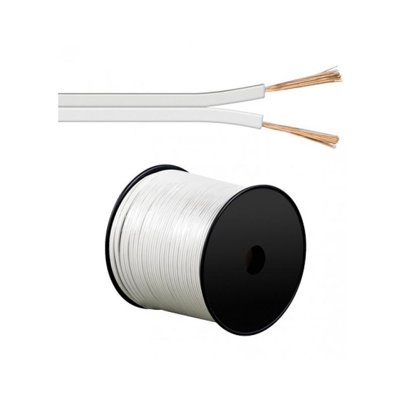 Speakerkabel 2x1.5MM- 50 Meter Plat/Wit